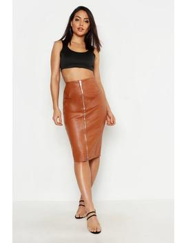 Pu Leather Look Zip Front Midi Skirt by Boohoo