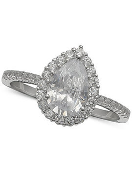 Cubic Zirconia Pear Halo Ring In Sterling Silver, Created For Macy's by Giani Bernini