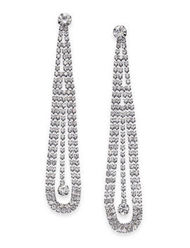 Silver Tone Crystal Pendulum Drop Earrings, Created For Macy's by Thalia Sodi