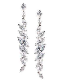 Silver Tone Cubic Zirconia  Linear Drop Earrings by Nina