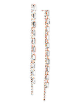 Crystal Double Row Linear Drop Earrings by Steve Madden
