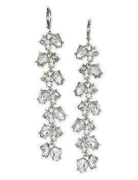 Crystal Leaf Linear Drop Earrings by Jewel Badgley Mischka