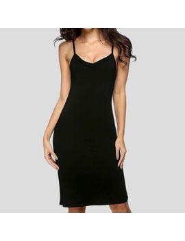 Women Sexy Long Spaghetti Strap Mini Dress Full Cami Slip Camisole Under Dress by Unbranded