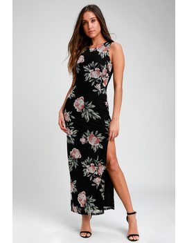 Sweet Life Black Floral Print Bodycon Maxi Dress by Lulus