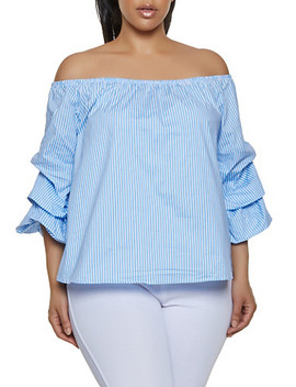 Plus Size Bubble Sleeve Striped Off The Shoulder Top by Rainbow