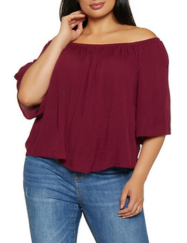 Plus Size Off The Shoulder Top | 0803054269389 by Rainbow