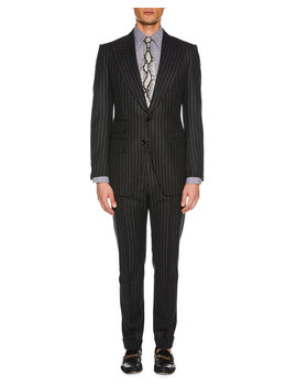 Men's Pinstriped Wool Two Piece Suit by Tom Ford