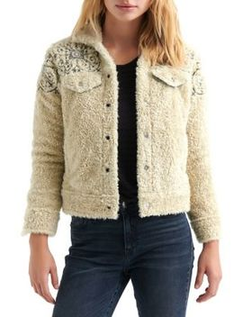 Embroidered Faux Shearling Trucker Jacket by Lucky Brand