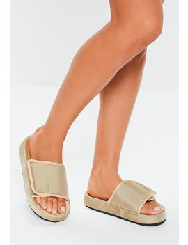 Sand Padded Canvas Sliders by Missguided
