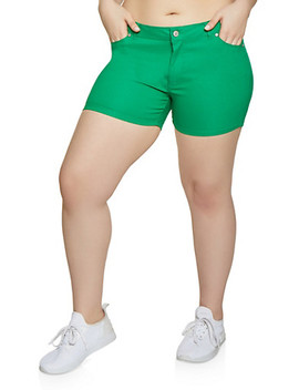 Plus Size Stretch Solid Shorts by Rainbow