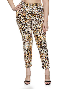 Plus Size Textured Knit Leopard Pants by Rainbow