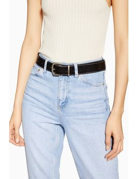 Silver Leather Belt by Topshop