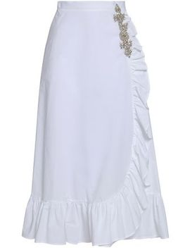 Ruffled Embellished Cotton Poplin Midi Skirt by Christopher Kane