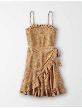 Ae Smocked Wrap Dress by American Eagle Outfitters