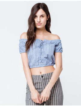 Sky And Sparrow Eyelet Crop Light Blue Womens Off The Shoulder Top by Sky And Sparrow