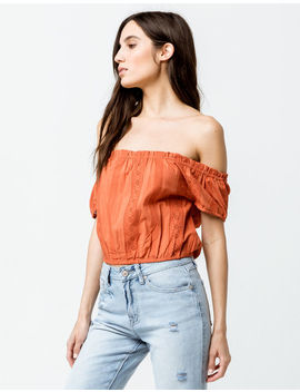Sky And Sparrow Crop Peasant Rust Womens Off The Shoulder Top by Sky And Sparrow