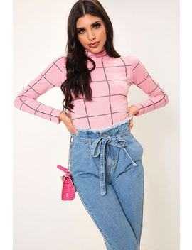 Pink Check Print Roll Neck Jersey Top by I Saw It First