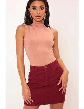 Camel Rib Roll Neck Sleeveless Bodysuit by I Saw It First
