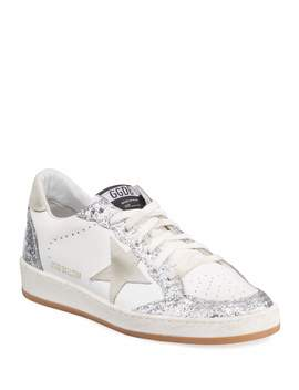 Ball Star Glittered Lace Up Leather Sneakers by Golden Goose