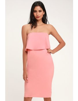 Lots Of Love Light Pink Strapless Midi Dress by Lulus