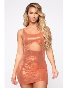 Go Out Metallic Cut Out Dress   Orange by Fashion Nova