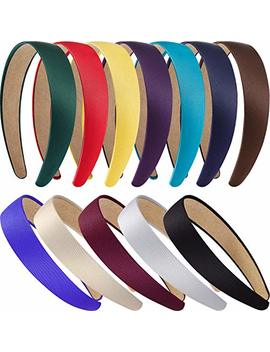 Tatuo 12 Pieces Hard Headbands Satin Headbands 1 Inch Headbands Non Slip Ribbon Hair Bands Diy Hair Accessories Headbands Headwear For Women Girls by Tatuo