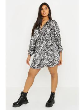Plus Satin Leopard Print Wrap Dress by Boohoo