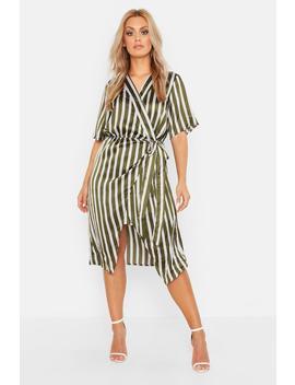 Plus Satin Stripe Wrap Tie Waist Midi Dress by Boohoo