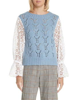 Eyelet Sleeve Wool Blend Sweater by Sea