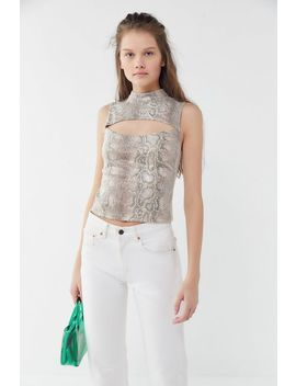 Uo Kiara Snake Print Cutout Tank Top by Urban Outfitters