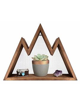 Mkono Wall Shelf Wood Floating Mountain Shelf Crystal Display Shelf Rustic Triangle Wall Art Geometric Decor For Nursery, Bedroom  Perfect Housewarming Gifts by Mkono