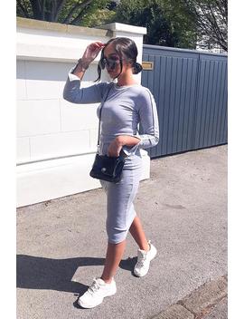 Grey Rib Contrast Piping Top Midi Skirt Co Ord   Ibbie by Rebellious Fashion
