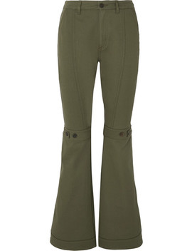 Button Detailed Cotton Twill Flared Pants by Loewe
