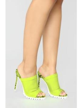 No Limits Heeled Sandals   Neon Yellow by Fashion Nova
