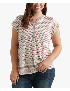 Plus Size Mixed Print Split Neck Top by Lucky Brand