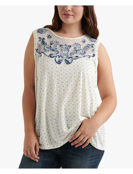 Plus Size Appliquéd Sleeveless Top by Lucky Brand
