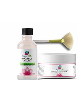 Planet Eden 50 Percents Glycolic Acid Chemical Skin Peel Kit With Antioxidant Recovery Cream And Fan Brush by Planet Eden
