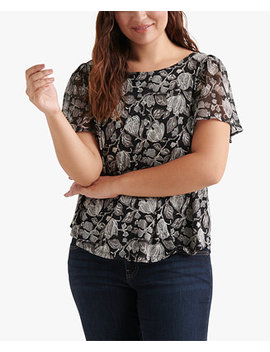 Plus Size Floral Print Back Cutout Top by Lucky Brand