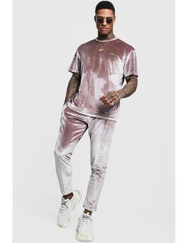 Man Signature Velour T Shirt & Jogger Set by Boohoo