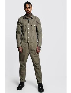 Cotton Twill Utility Boiler Suit by Boohoo
