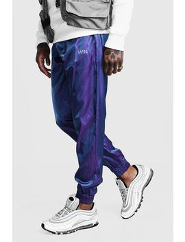 Irredescent Joggers With Reflective Man Print by Boohoo