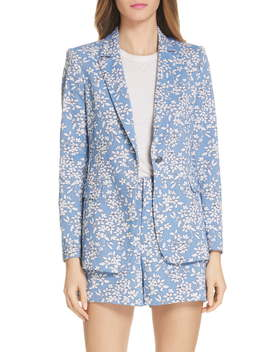 Macey Floral Print Cotton Blend Blazer by Alice + Olivia