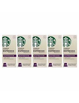 Starbucks® Fairtrade Espresso Roast Nespresso®* Compatible Capsules (Pack Of 5, Total 50 Pods), Packaging May Vary by Starbucks