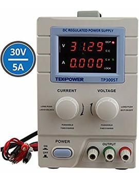 Tekpower Tp3005 T Variable Linear Dc Power Supply, 0 30 V @ 0 5 A With Alligator Test Leads by Tekpower