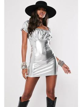 Silver Metallic Milkmaid Bodycon Mini Dress by Missguided