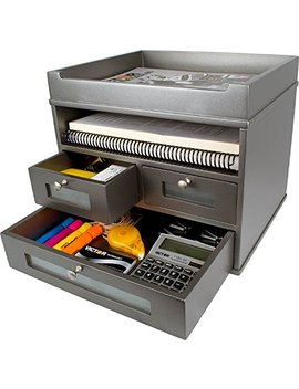 Victor Wood Tidy Tower Desktop Organizer, S5500 (Classic Silver) … by Victor
