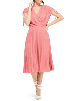 Pleated Ruched Shoulder Dress by Gal Meets Glam Collection