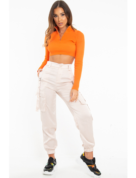 Nude Satin Utility Pocket Cuffed Hem Trousers   Delilah by Rebellious Fashion
