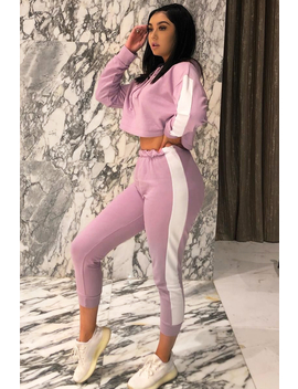 Lilac Side Stripe Cropped Hoodie And Jogger Set   Darshi by Rebellious Fashion