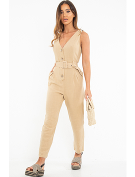 Camel Woven Plunge Button Front Belted Jumpsuit   Stephani by Rebellious Fashion